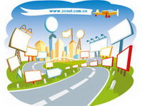 Urban scenes cartoon Vector material